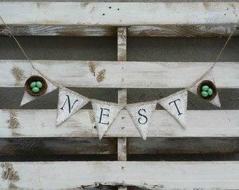 Nest Burlap Banner, Burlap Banner, Spring Decor, Rustic Home Decor, Cottage Chic Decor, Spring Photo Prop
