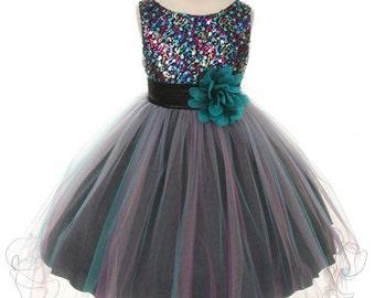 Stunning Multi-sequin trio color tulle dress.