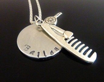 Hair dresser Necklace Hand stamped hair stylist comb hair dryer necklace barber Personalized jewelry