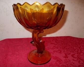 Vintage Amber Pedestal Decor Dish