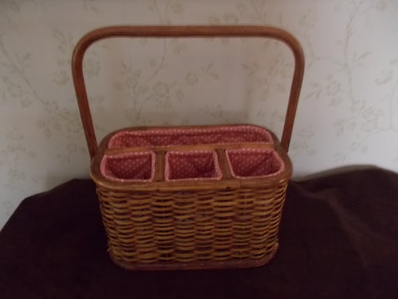 Vintage Divided Wicker Basket