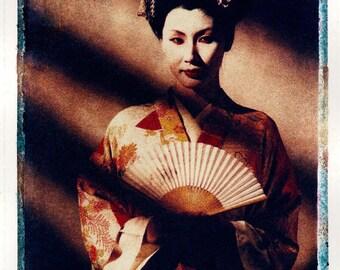 Original Fine Art Photograph of Geisha polaroid transfer by Mark Tomalty