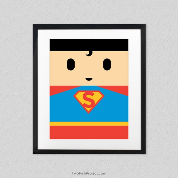 superman poster for kids room man of steel superhero wall art print