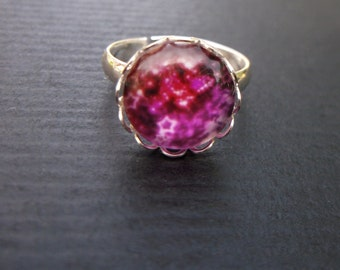 Bright, Red Starry Night Glass Cabochon Silver Tone Adjustable Ring