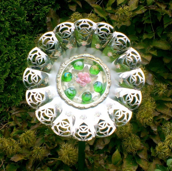 Garden art silver plate and glass upcycled plate flower yard for Upcycled yard decor