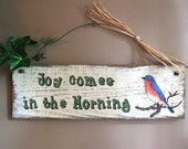 Weathered Wood Hand Painted Bluebird Sign