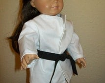White Karate Suit and Black Belt for 18 Inch Dolls, Americian Girl, Standard Caggabe Patch and Bears