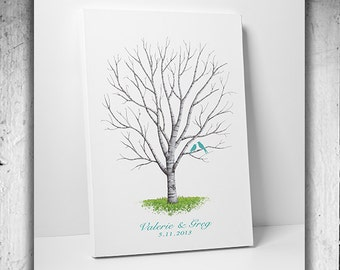 Custom Wedding Guest Book // Fingerprint Tree Guest Book // Guest Book Tree // Canvas Fits 25-350 Fingerprints // Many Sizes Available