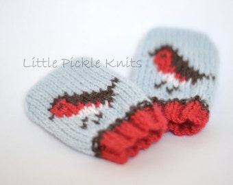HOLIDAY KNITTING PATTERNS baby mittens -  little robins  - newborn to 1 year