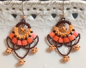 Sassy Swagger Earring. Downloadable PDF Pattern. Beautiful beaded earrings done with brick, peyote and craw stitches.