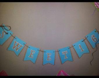 Rustic sweet sixteen banner