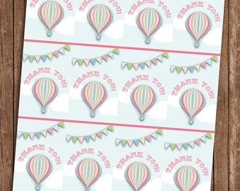 Hot Air Balloon Pink Thankyou Tags