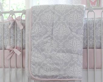 Girl Baby Crib Bedding: Pink and Gray Damask Crib Comforter by Carousel Designs
