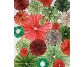 25pc Set of Red & Green Christmas Paper Pinwheel's Rosette paper Flower Party Decoration wedding birthday shower pinwheel decour pinwheels