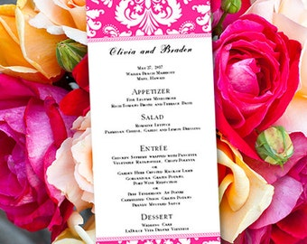 "Printable Wedding Menu Template  ""Damask"" Fuschia Pink 
