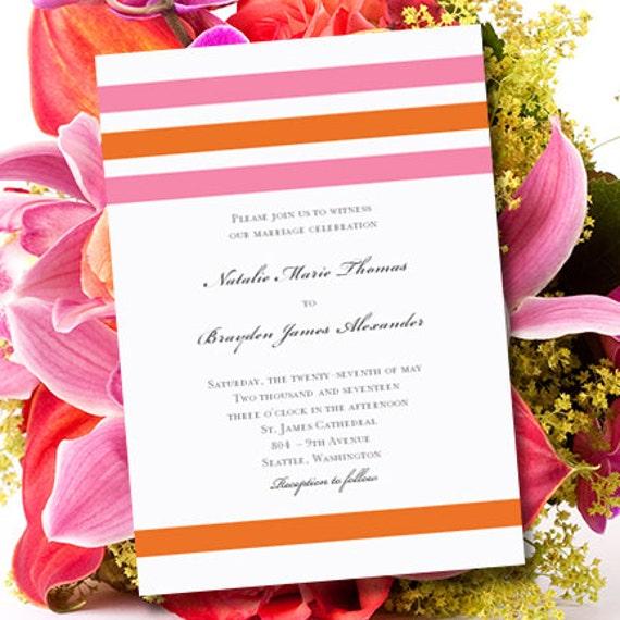 Pink Orange Wedding Invitations