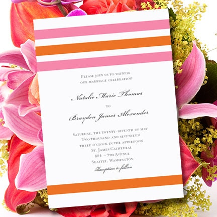 Pink Amp Orange Wedding Invitations Simply By WeddingTemplates