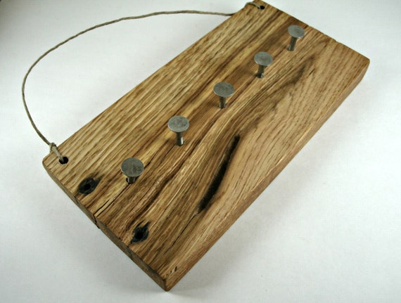 Wall Key Holder Salvaged Reclaimed Red Oak from Pallet Wood