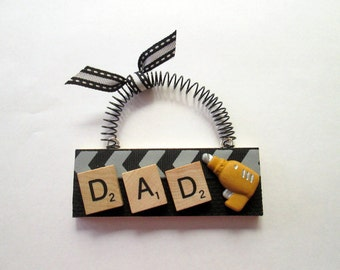 Dad Drill DiY Scrabble Tile Ornaments