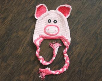 Pig Beanie, Baby Girl Crochet Animal Beanie Hat, SIZE 3 - 12 MONTHS