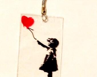 Banksy Balloon Girl Keychain Necklace