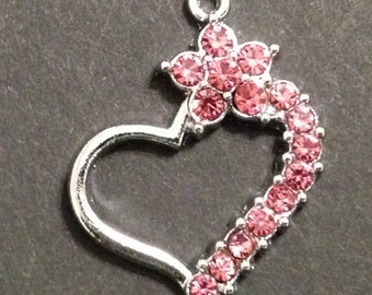Rhinestone Heart Charm (1), Pink Rhinestones, Valentine Rhinestone Charm, Charm Pendant for Bracelets, Necklaces or Earrings