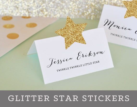 Star Place Cards DIY Gold Glitter Star Stickers Twinkle