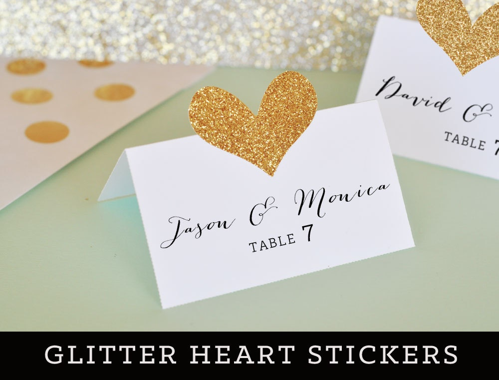 glitter place card diy gold glitter heart stickers mint and