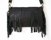 Black or White Boho leather Clutch Bag with Tassels, Fringe leather bag.
