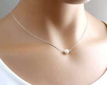 Single Pearl Necklace 6mm, 8mm, 10mm, Bridesmaid Necklace, Minimalist Necklace, Simple Everyday Jewelry, Bridesmaid Gift