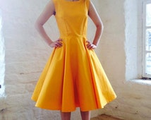 Classic cotton circle skirt frock in Mustard by LUCILLE.