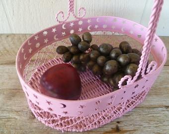Pink Metal and Wicker Painted Basket