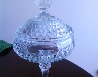 Diamond Cut Clear Glass Pedestal Compote W Lid Vintage