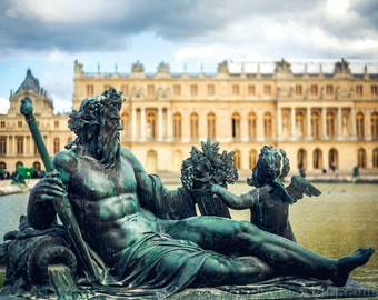 "Paris Photograph, ""A GOD'S DOMAINE,"" Statue of Neptune at Versailles, Fine Wall Art, gold, green,  Fine Home Decor"