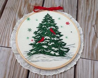 Christmas Tree with Cardinals Hoop Art