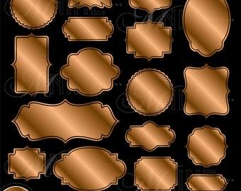 BRONZE LABELS Clipart Digital Clip Art Vector Design Elements, Instant Download, Frames Metallic
