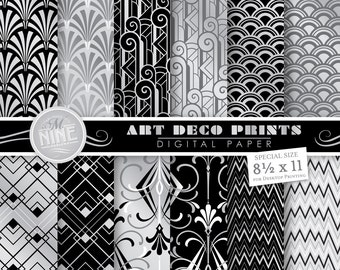 "ART DECO Digital Paper: SILVER Art Deco 8 1/2"" x 11"" Pattern Prints, Instant Download, Retro Movie Patterns Cinema Backgrounds Print"