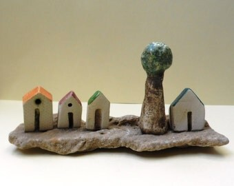 Rustic white miniature houses and olive  tree, Ceramic miniature white clay, on beach stone. gift for him, home and office decoration.