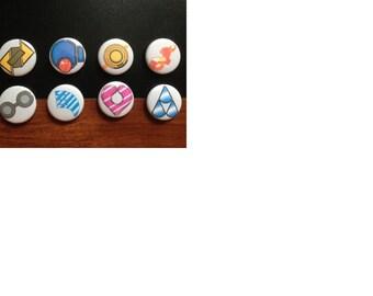 Pokemon Hoenn region badge set (magnets pictured)