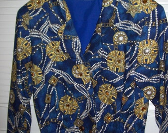 Adrienne Vittadini vintage blingy fun  jacket.  Gems and pearls galore! med -large