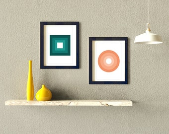 "A Set of 2 Modern Prints Wall Decor / Posters (8x10"" or A3)"