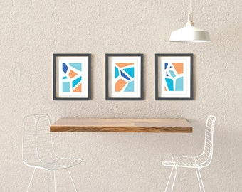 "A Set of 3 Modern Prints Wall Decor / Posters (8x10"" or A3)"