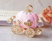 1 Pcs Pink Pumpkin Carriage Metal Accessory Charms Pendant with Rhinestone Jewelry Making Phone Decoration #A43