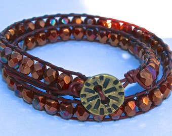 Red Luster Glass Bead Double Wrap Bracelet