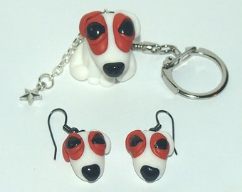 Cute Jack Russell Terrier Key Chain and Earrings