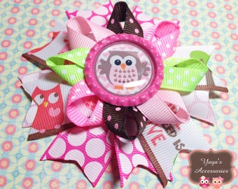 Owl Hair Bow -  Summer Bow - Pink, Green, Brown