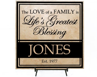 The love of a family is life's greatest blessing - Personalized Tile (Wood Sign or Tile) Custom Tile, Family Tile, Custom Wood Sign