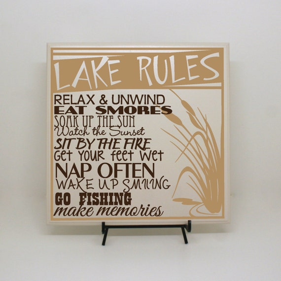 Lake rules lake home decor welcome to our home home on the for Home decorating guidelines