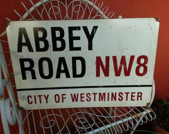 "ABBEY ROAD     metal 12x18""  City of Westminster  Beatles"