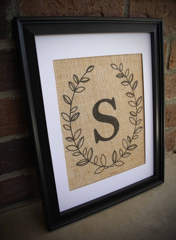 Burlap Monogram Simple Laurel Wreath Monogram Print